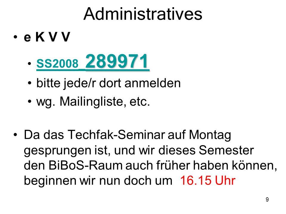 Administratives e K V V bitte jede/r dort anmelden