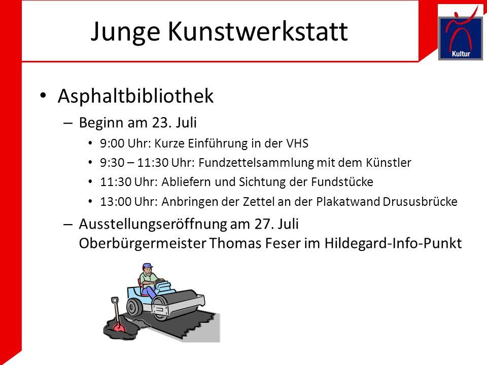 Junge Kunstwerkstatt Asphaltbibliothek Beginn am 23. Juli