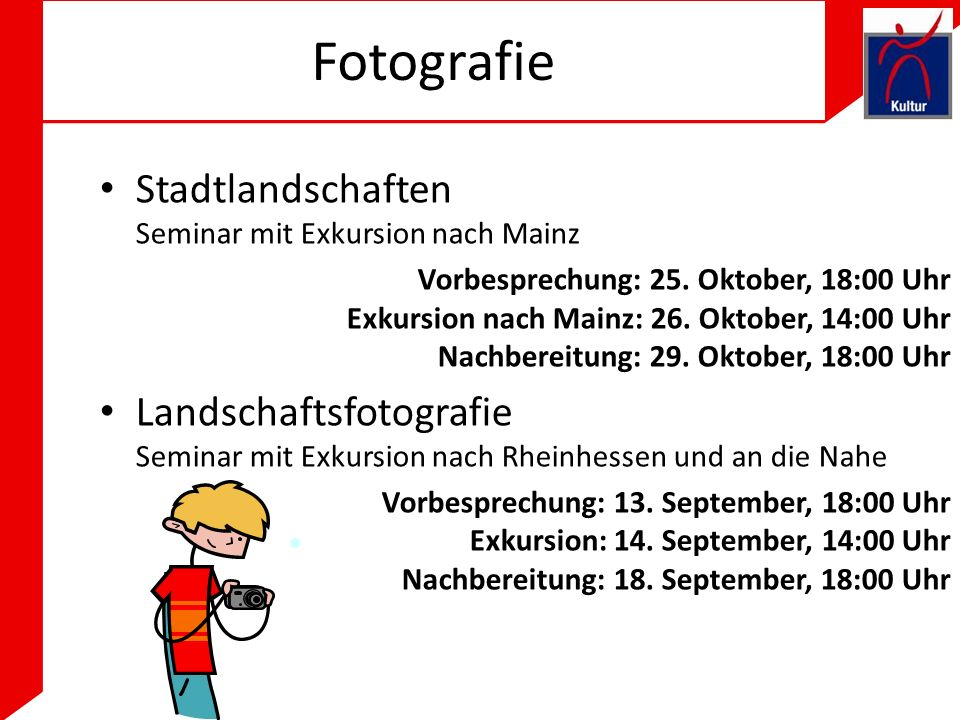 Fotografie Stadtlandschaften Seminar mit Exkursion nach Mainz