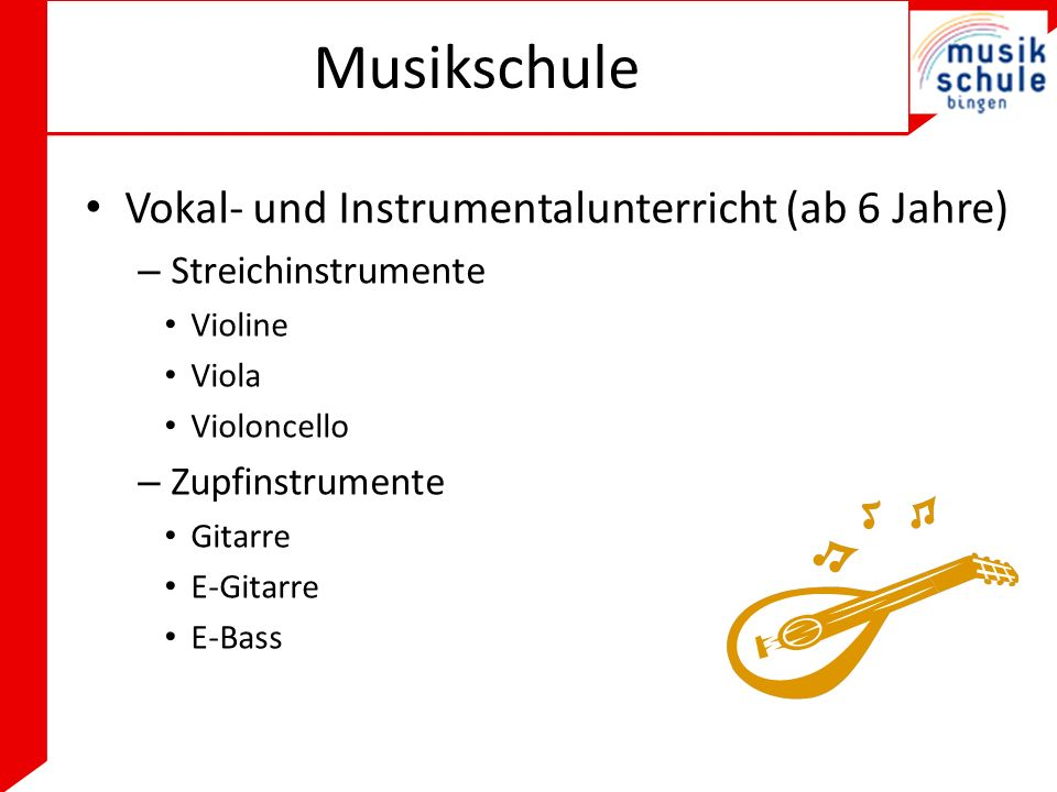 Musikschule Vokal- und Instrumentalunterricht (ab 6 Jahre)