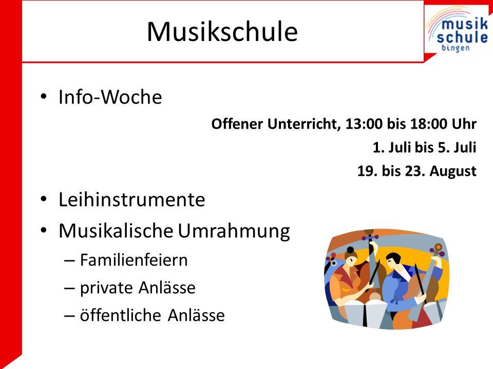 Musikschule Info-Woche Leihinstrumente Musikalische Umrahmung