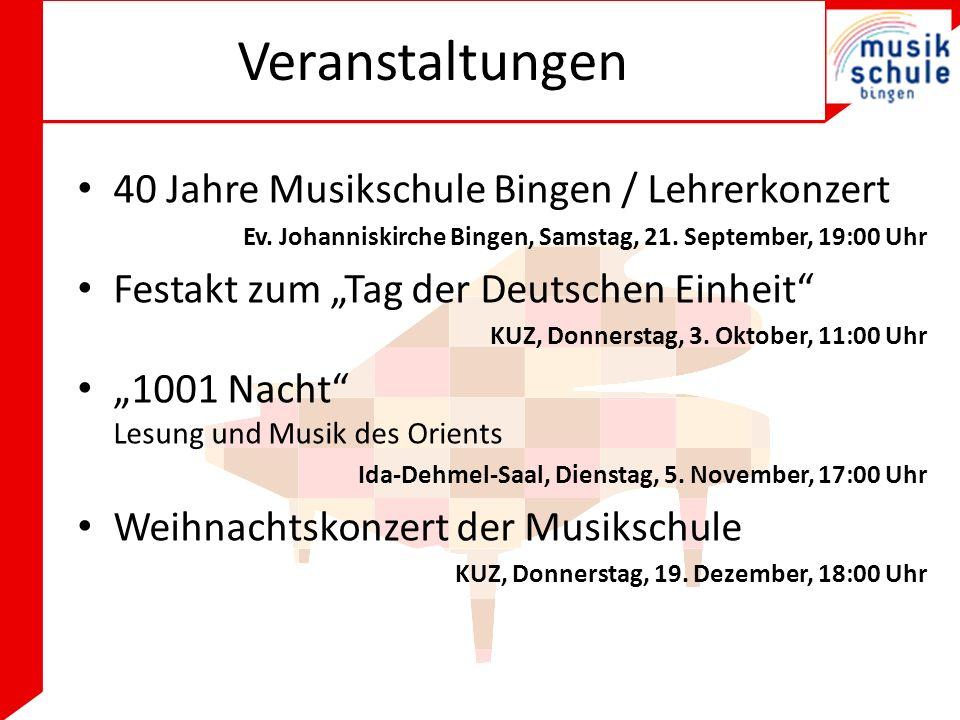 Veranstaltungen 40 Jahre Musikschule Bingen / Lehrerkonzert