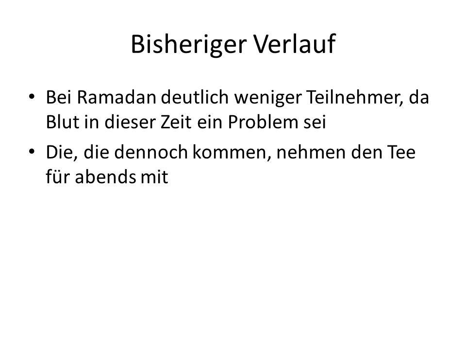 Bisheriger Verlauf Bei Ramadan deutlich weniger Teilnehmer, da Blut in dieser Zeit ein Problem sei.