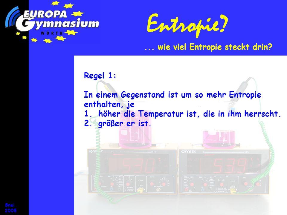 Entropie ... wie viel Entropie steckt drin Regel 1: