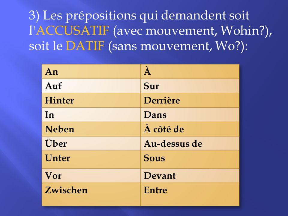 3) Les prépositions qui demandent soit l accusatif (avec mouvement, Wohin ), soit le datif (sans mouvement, Wo ):