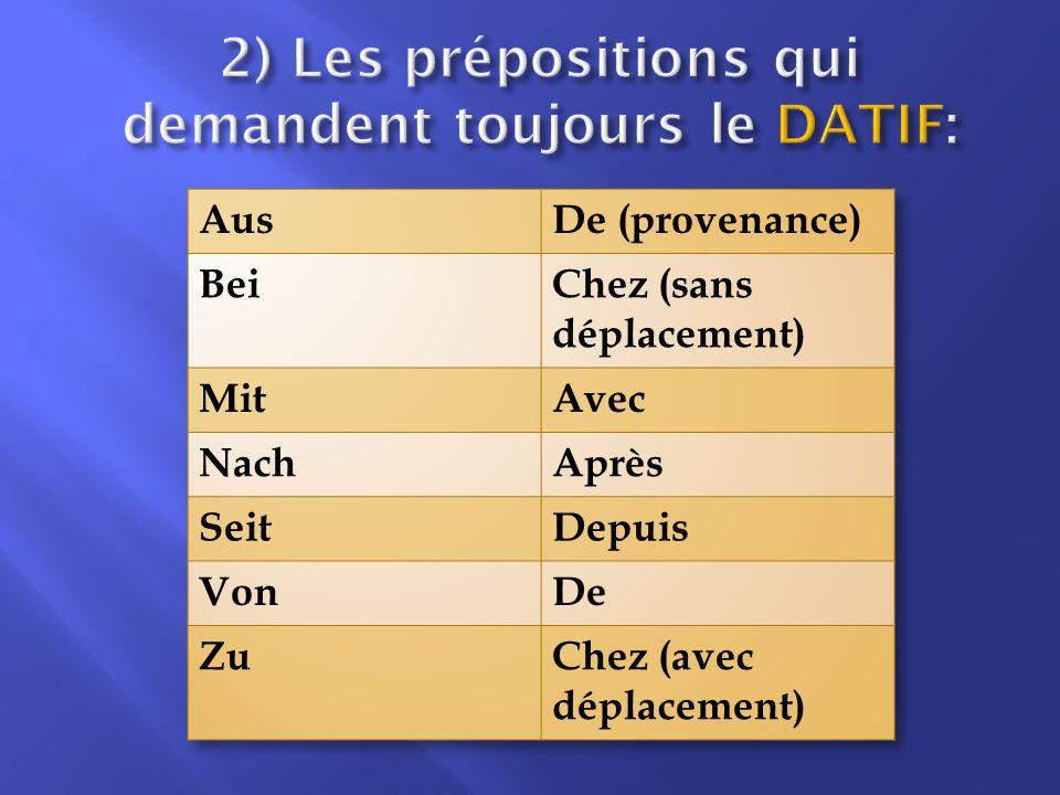 2) Les prépositions qui demandent toujours le datif:
