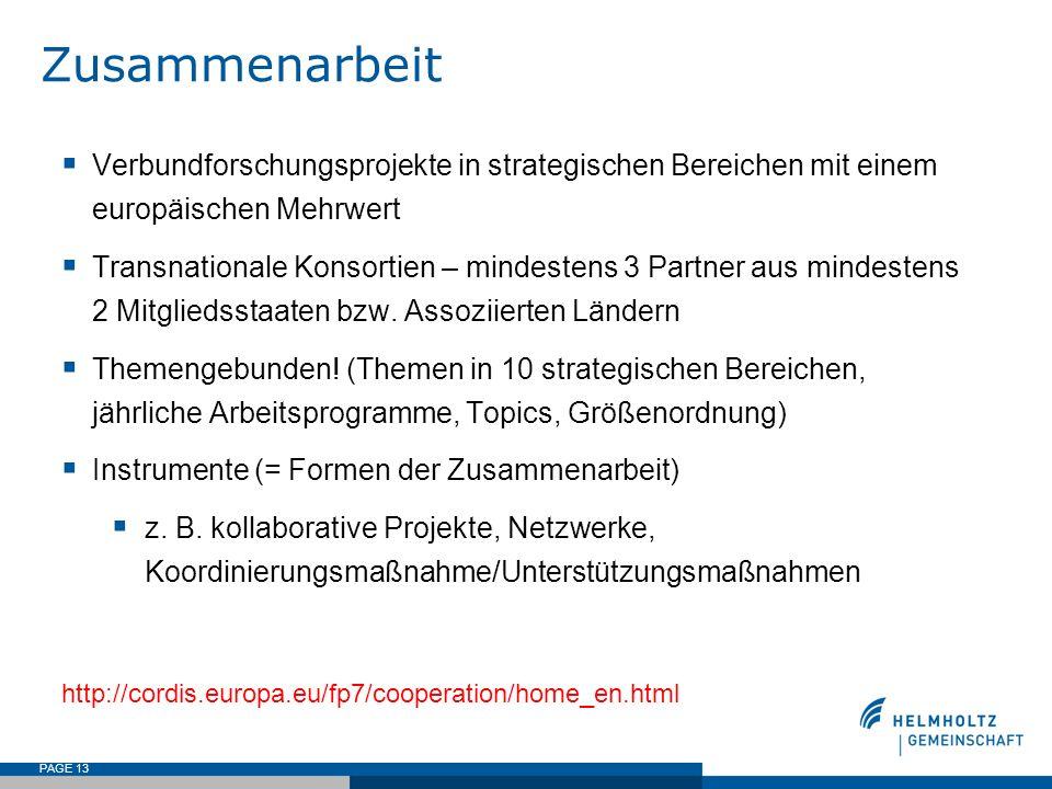 Zusammenarbeit Verbundforschungsprojekte in strategischen Bereichen mit einem europäischen Mehrwert.