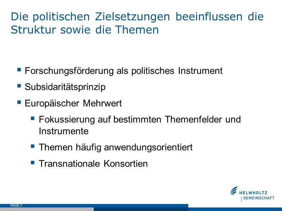 Die politischen Zielsetzungen beeinflussen die Struktur sowie die Themen