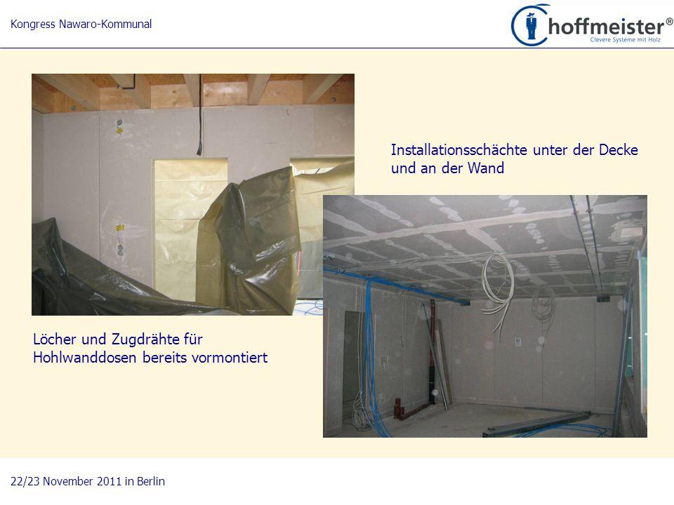 Installationsschächte unter der Decke und an der Wand
