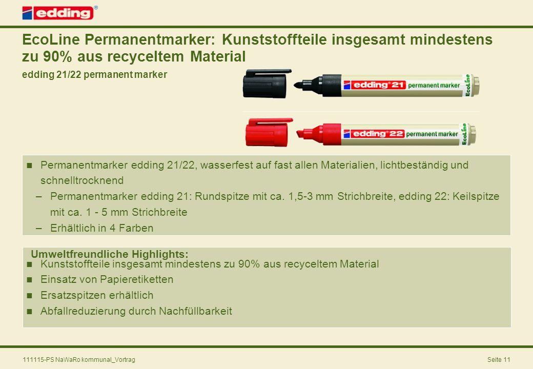 EcoLine Permanentmarker: Kunststoffteile insgesamt mindestens zu 90% aus recyceltem Material