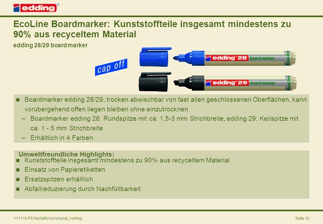 EcoLine Boardmarker: Kunststoffteile insgesamt mindestens zu 90% aus recyceltem Material