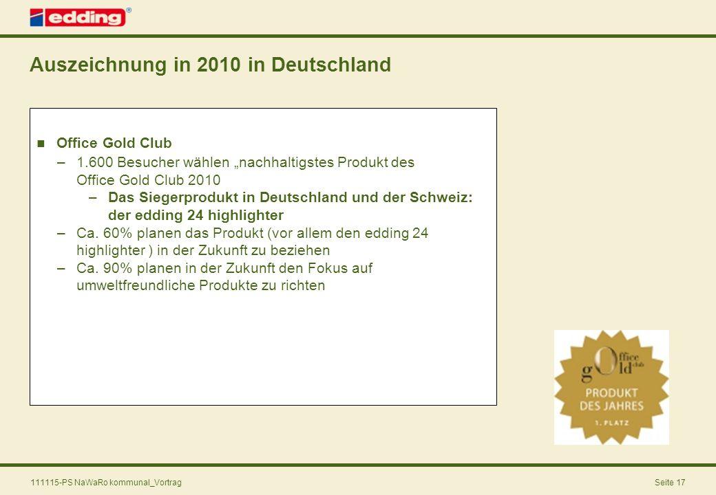 Auszeichnung in 2010 in Deutschland