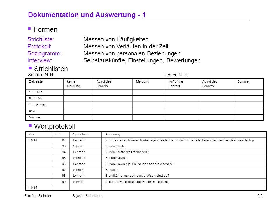 Dokumentation und Auswertung - 1