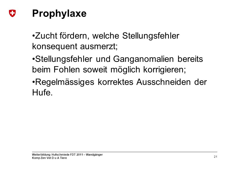 Prophylaxe Zucht fördern, welche Stellungsfehler konsequent ausmerzt;