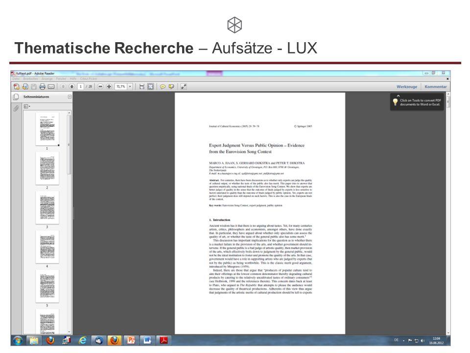 Thematische Recherche – Aufsätze - LUX