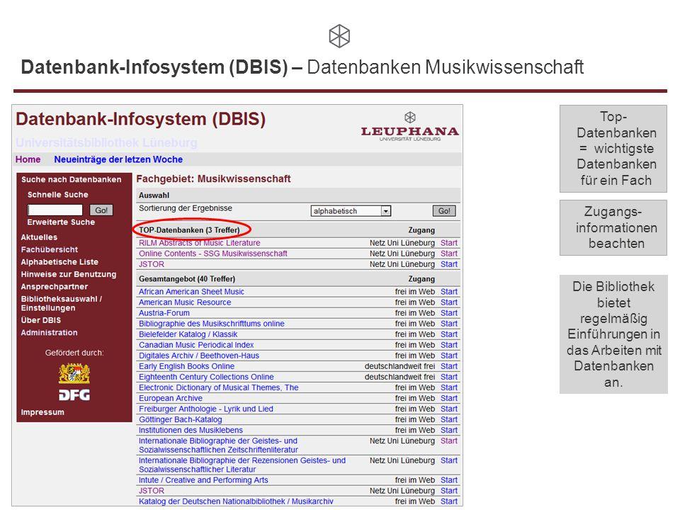 Datenbank-Infosystem (DBIS) – Datenbanken Musikwissenschaft