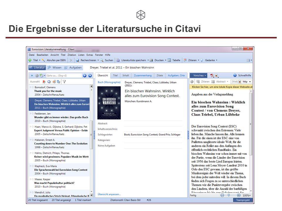 Die Ergebnisse der Literatursuche in Citavi