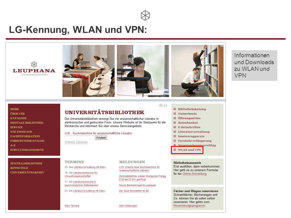 LG-Kennung, WLAN und VPN: