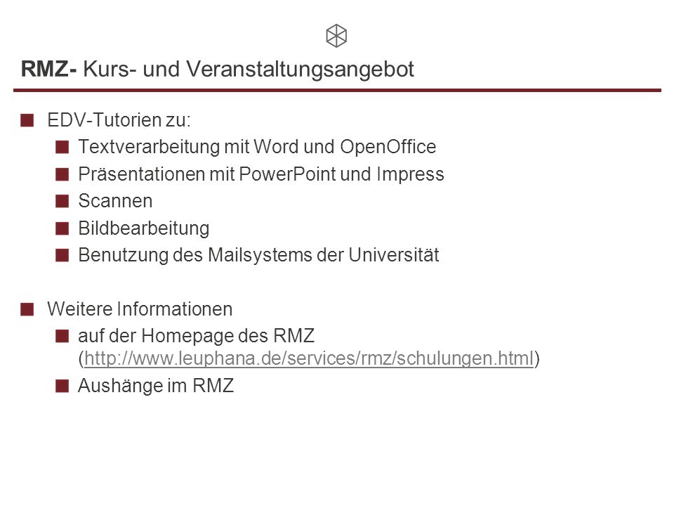 RMZ- Kurs- und Veranstaltungsangebot