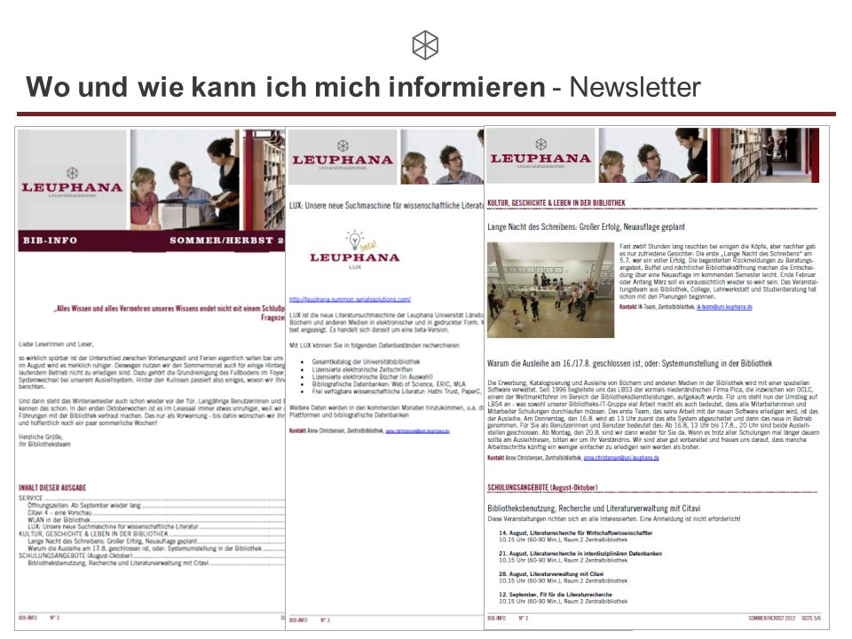 Wo und wie kann ich mich informieren - Newsletter