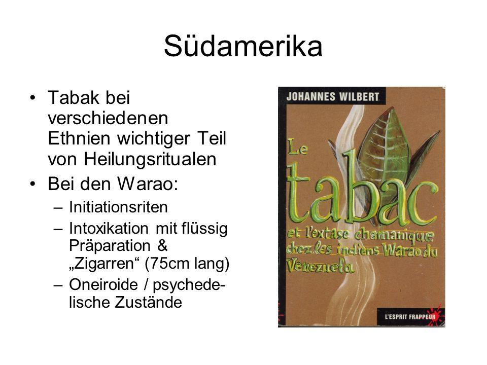 Südamerika Tabak bei verschiedenen Ethnien wichtiger Teil von Heilungsritualen. Bei den Warao: Initiationsriten.