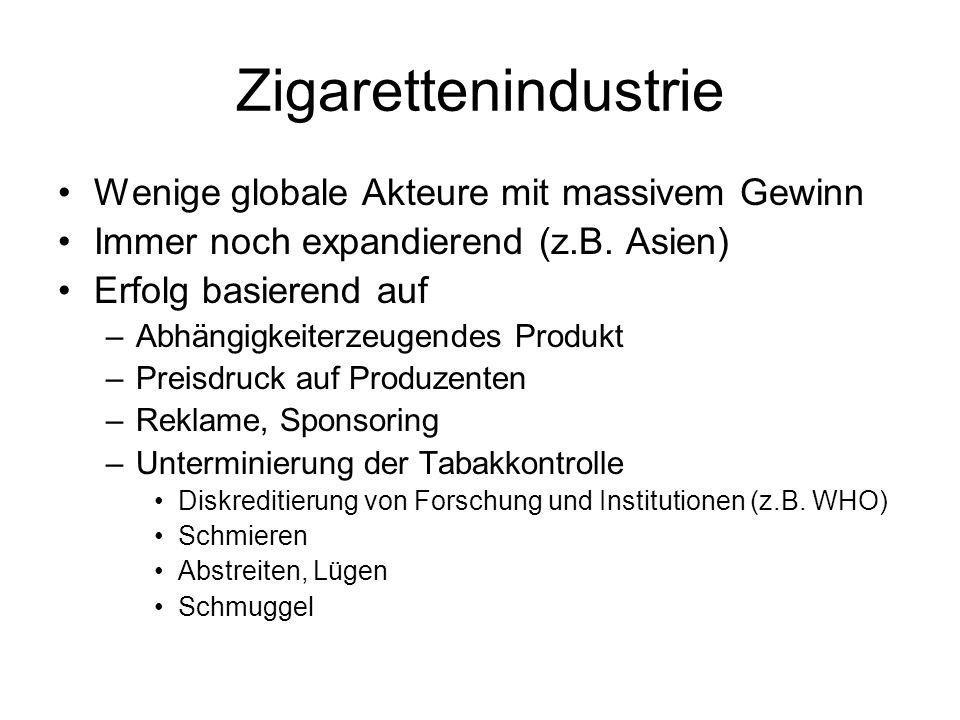 Zigarettenindustrie Wenige globale Akteure mit massivem Gewinn