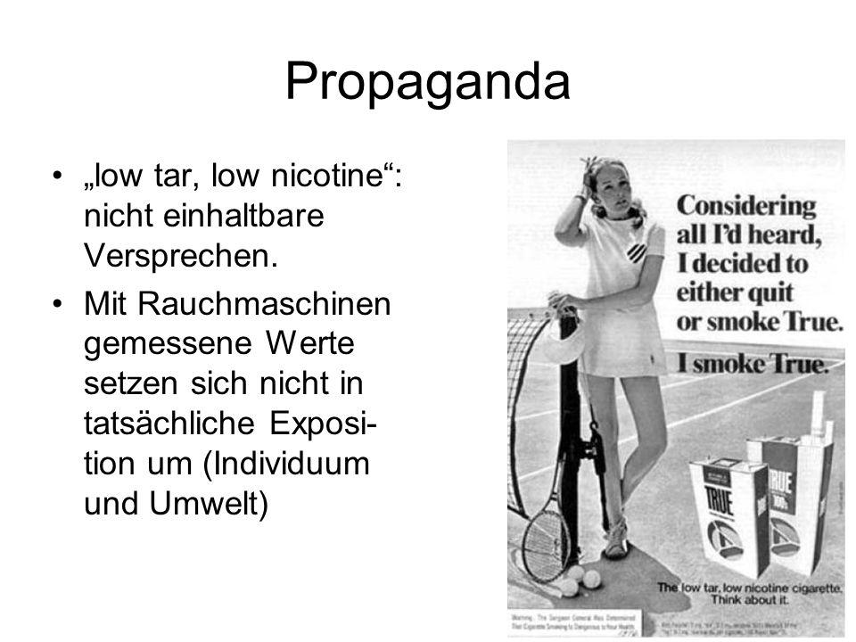 """Propaganda """"low tar, low nicotine : nicht einhaltbare Versprechen."""