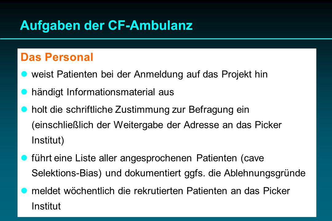 Aufgaben der CF-Ambulanz