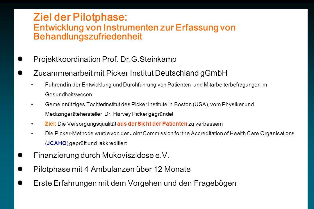 Ziel der Pilotphase: Entwicklung von Instrumenten zur Erfassung von Behandlungszufriedenheit. Projektkoordination Prof. Dr.G.Steinkamp.