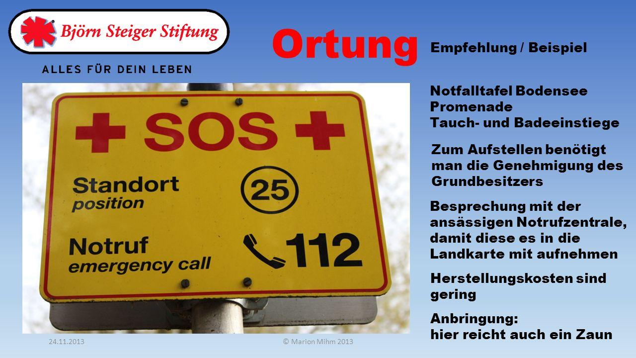 Ortung Empfehlung / Beispiel Notfalltafel Bodensee Promenade