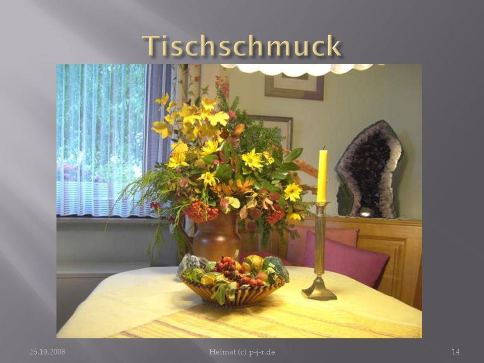 Tischschmuck Der mit jahreszeitlichem Schmuck dekorierte Tisch lädt zum Verweilen ein. 26.10.2008.