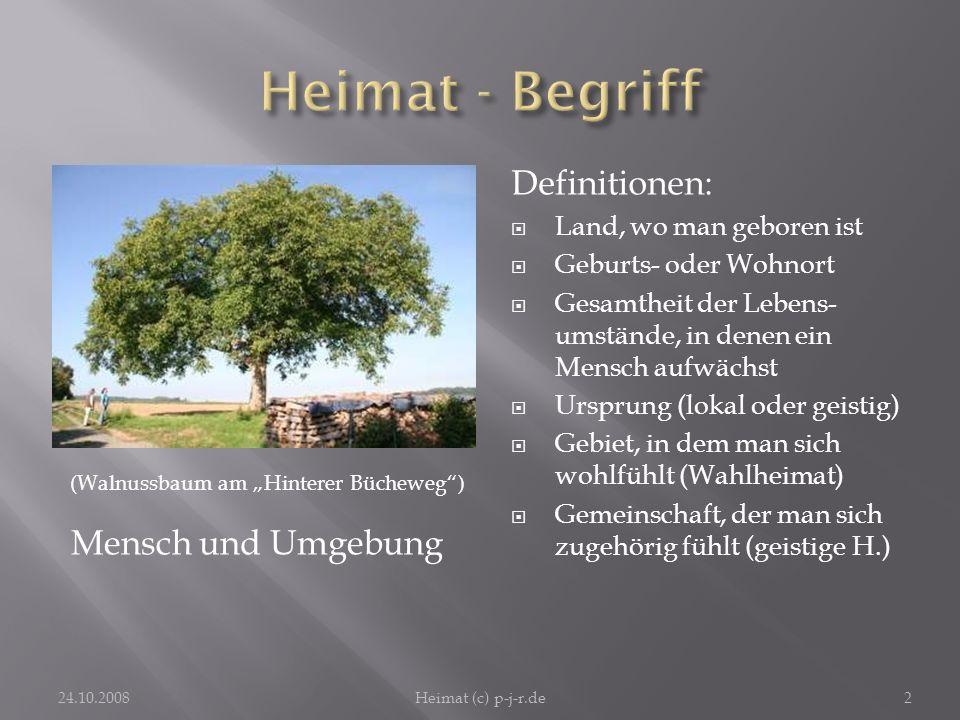 Heimat - Begriff Definitionen: Mensch und Umgebung