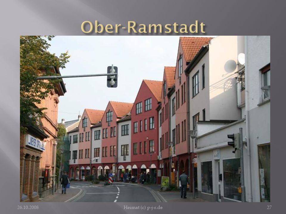 """Ober-RamstadtDie Arkadengeschäftshäuser an der Hauptstraße verwirklichen das Motto """"Stadt der Farben auf das Gefälligste."""