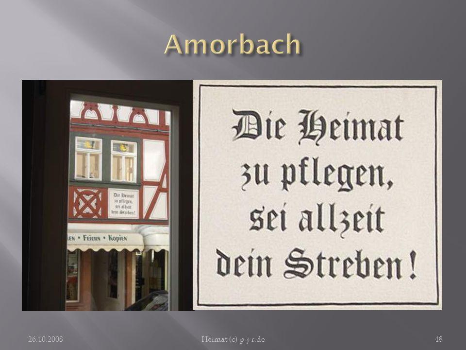 AmorbachVom Café Bilz aus schaut man auf ein Fachwerkhaus, dessen Fassadenschild mit unserm Thema zu tun hat.