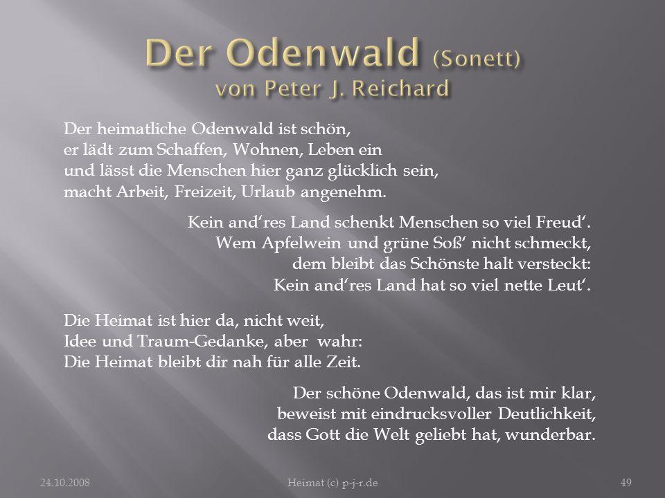 Der Odenwald (Sonett) von Peter J. Reichard