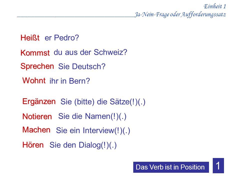 1 er Pedro du aus der Schweiz Sie Deutsch ihr in Bern Heißt Kommst