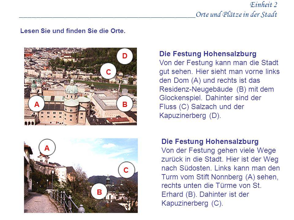 Einheit 2 ___________________________________________Orte und Plätze in der Stadt
