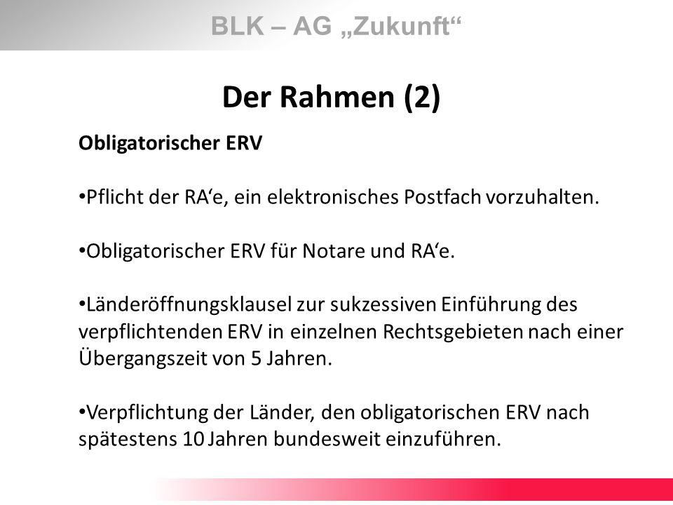 """Der Rahmen (2) BLK – AG """"Zukunft Obligatorischer ERV"""