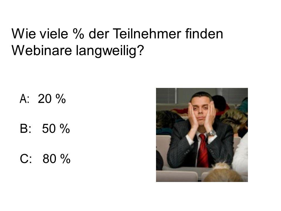 Wie viele % der Teilnehmer finden Webinare langweilig