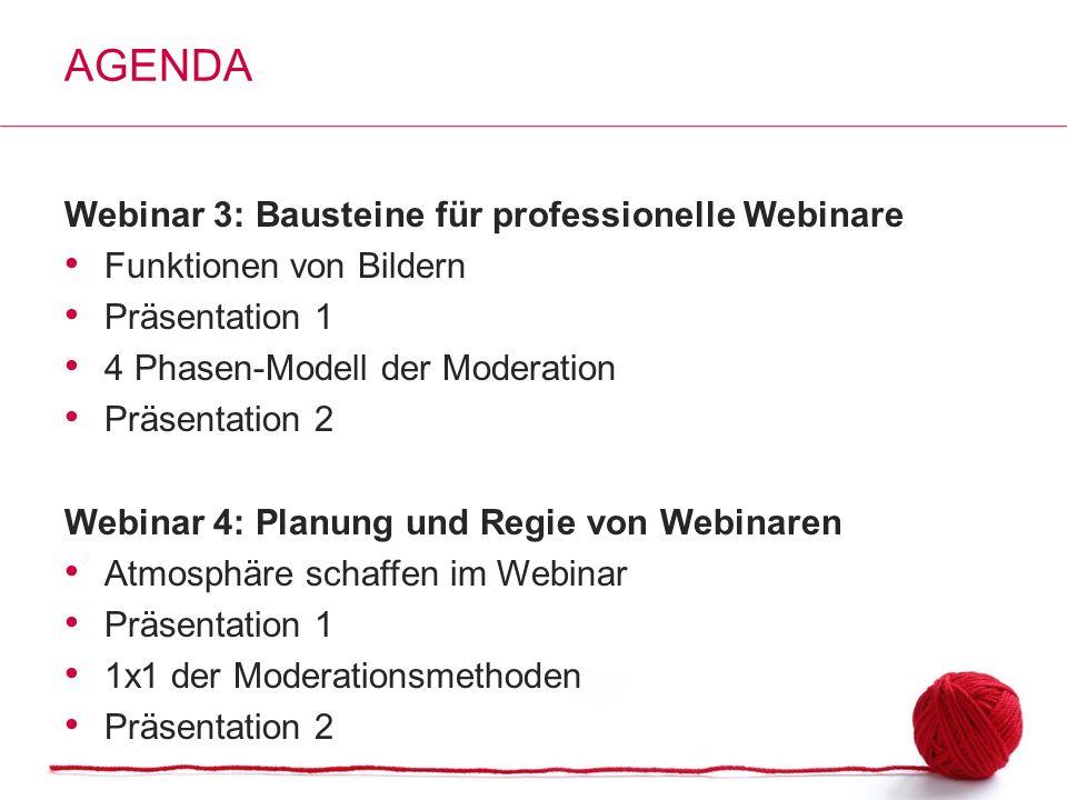 Agenda Webinar 3: Bausteine für professionelle Webinare