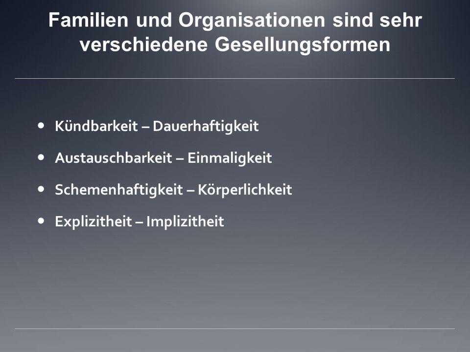 Familien und Organisationen sind sehr verschiedene Gesellungsformen
