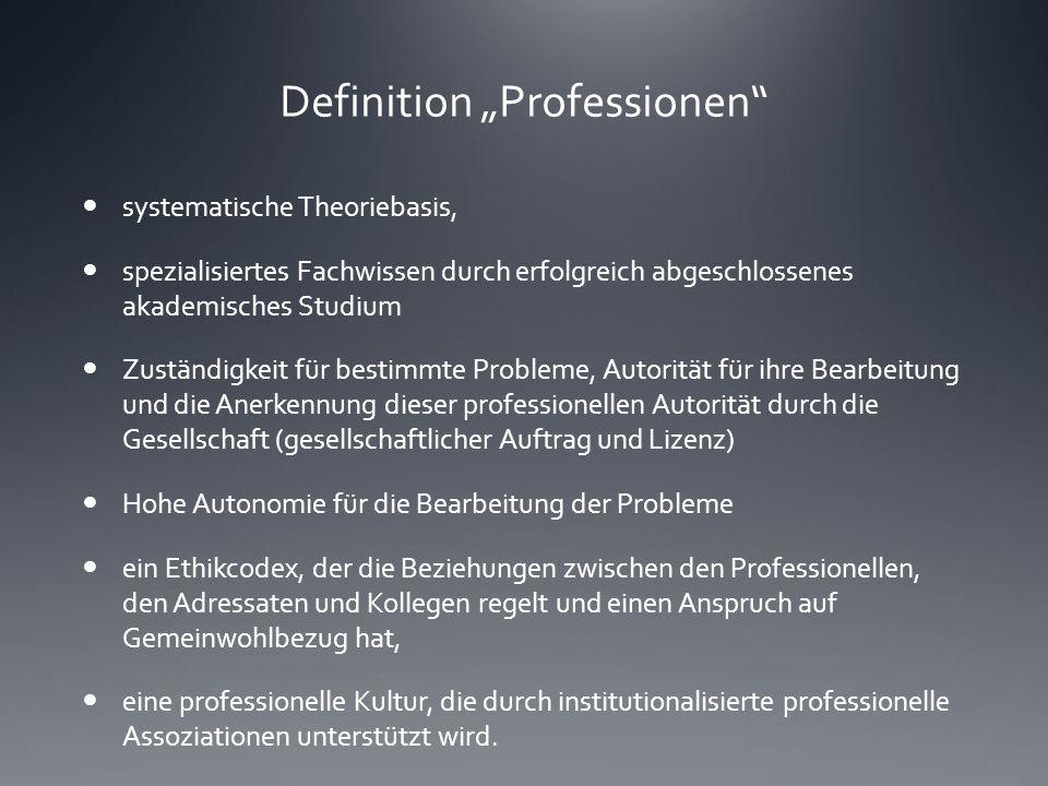 """Definition """"Professionen"""