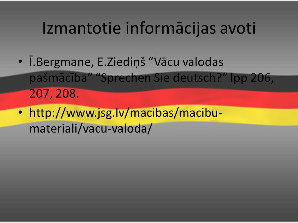 Izmantotie informācijas avoti