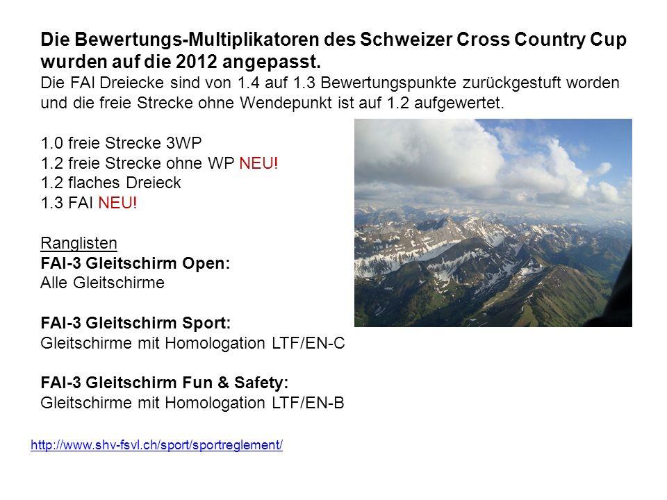 Die Bewertungs-Multiplikatoren des Schweizer Cross Country Cup wurden auf die 2012 angepasst. Die FAI Dreiecke sind von 1.4 auf 1.3 Bewertungspunkte zurückgestuft worden und die freie Strecke ohne Wendepunkt ist auf 1.2 aufgewertet. 1.0 freie Strecke 3WP 1.2 freie Strecke ohne WP NEU! 1.2 flaches Dreieck 1.3 FAI NEU! Ranglisten FAI-3 Gleitschirm Open: Alle Gleitschirme FAI-3 Gleitschirm Sport: Gleitschirme mit Homologation LTF/EN-C FAI-3 Gleitschirm Fun & Safety: Gleitschirme mit Homologation LTF/EN-B