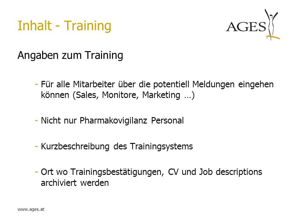 Inhalt - Training Angaben zum Training