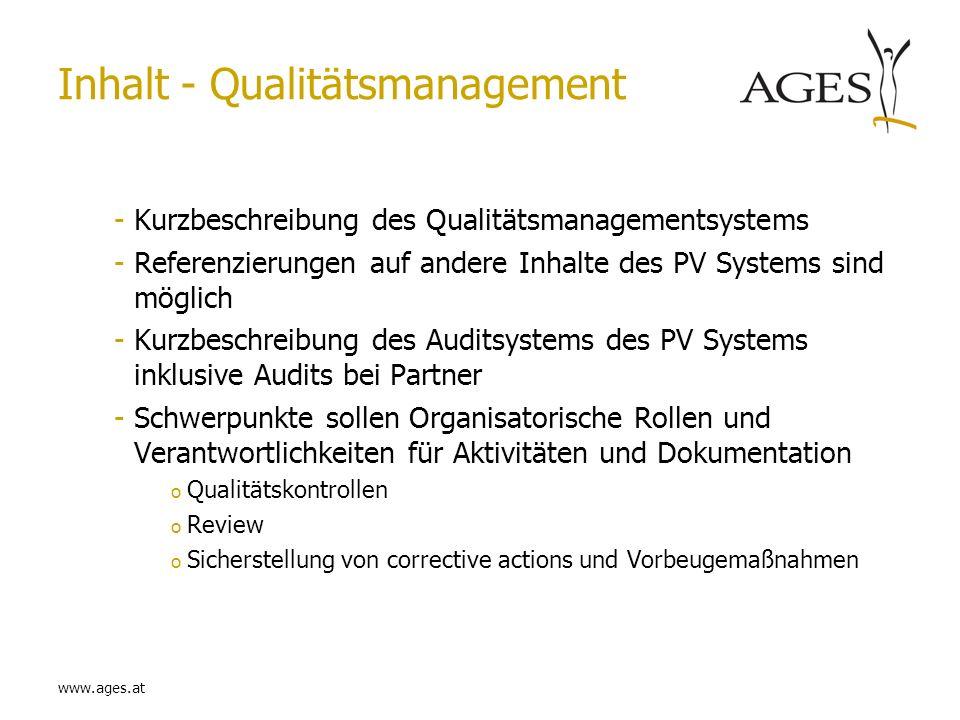 Inhalt - Qualitätsmanagement