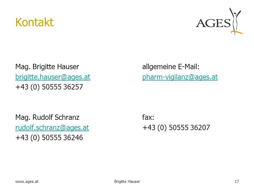 Kontakt Mag. Brigitte Hauser allgemeine E-Mail: