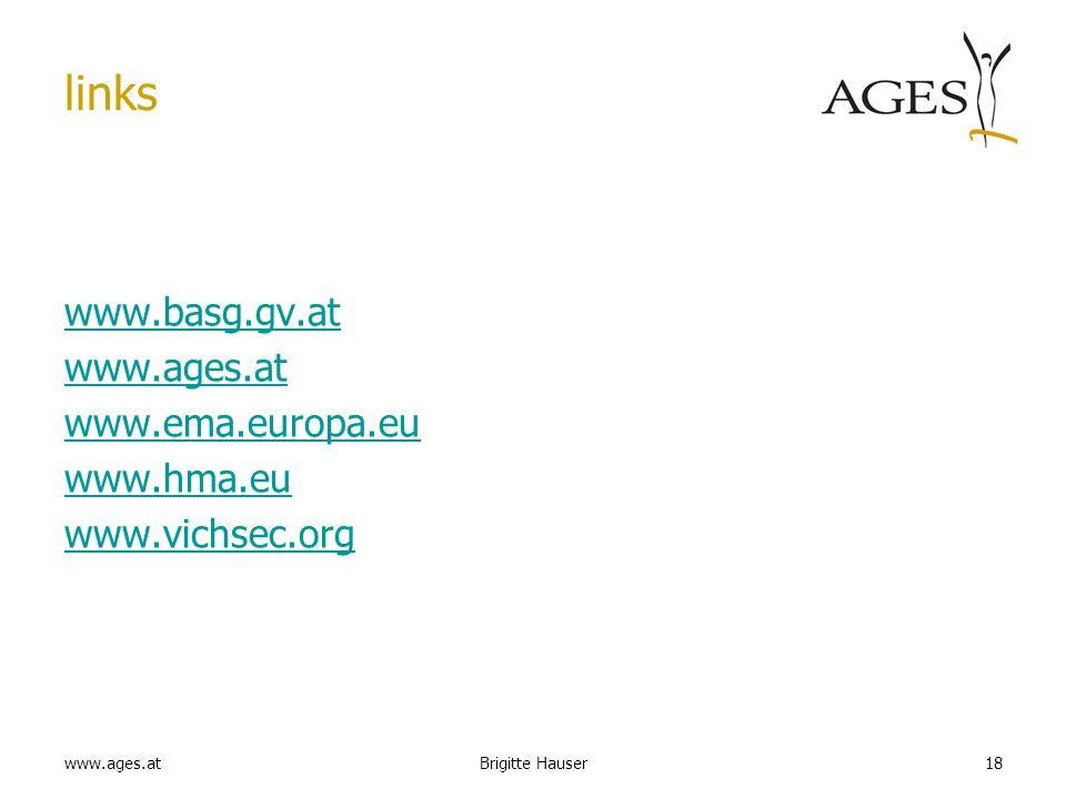 links www.basg.gv.at www.ages.at www.ema.europa.eu www.hma.eu www.vichsec.org Brigitte Hauser