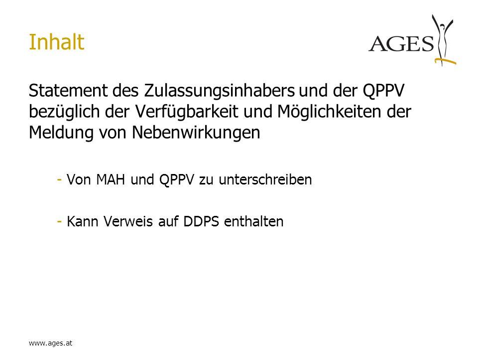 InhaltStatement des Zulassungsinhabers und der QPPV bezüglich der Verfügbarkeit und Möglichkeiten der Meldung von Nebenwirkungen.