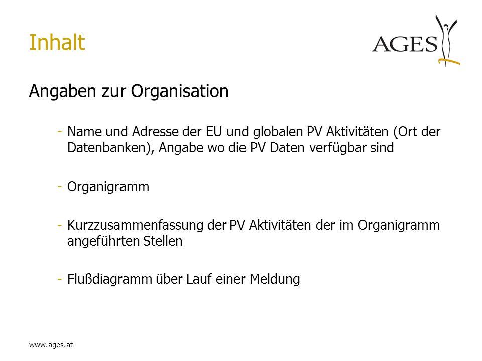 Inhalt Angaben zur Organisation